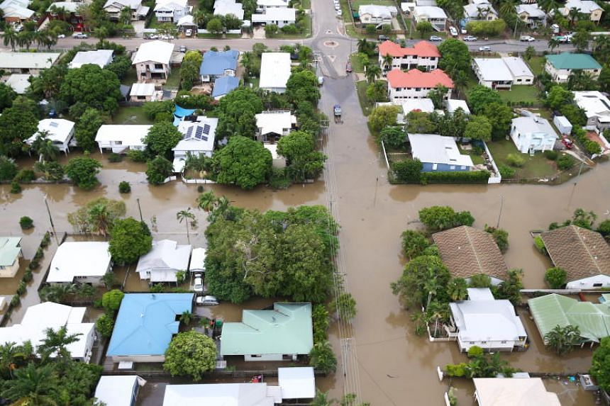 An aerial photo shows flood waters in Townsville, North Queensland, Australia, on Feb 5, 2019.