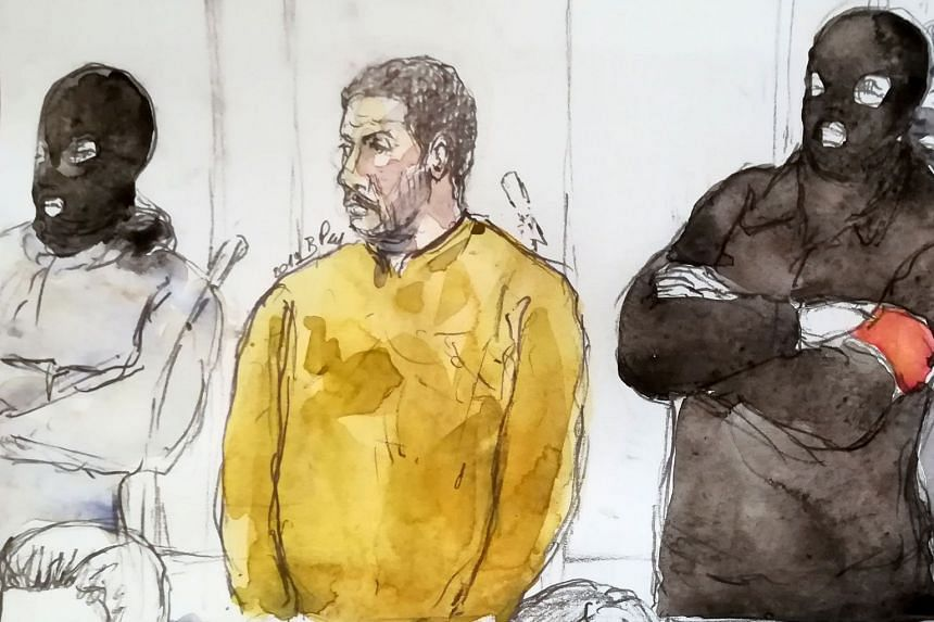 A court sketch shows Mehdi Nemmouche (centre) during his trial at the Brussels Justice Palace.
