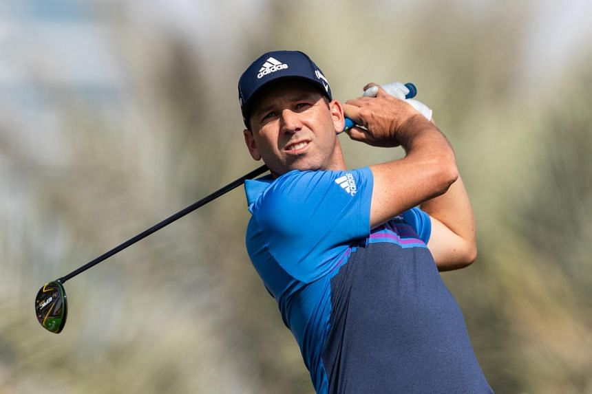 Sergio Garcia tees off from the 14th hole during the third round of the Omega Dubai Desert Classic, on Jan 26, 2019.