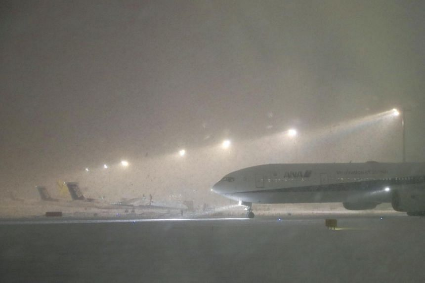 Heavy snowfall at New Chitose Airport in Hokkaido on Jan 5, 2019.
