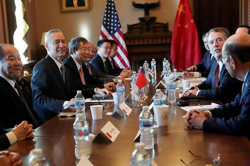 US Trade Representative Robert Lighthizer (second, right) and China's Vice Premier Liu He (left) during the opening of US-China Trade Talks in Washington, US, on Jan 30, 2019.
