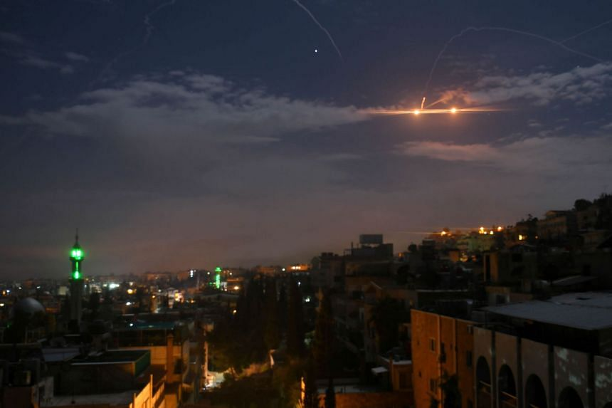 A January 2019 photo shows Syrian air defence batteries responding to what the Syrian state media said were Israeli missiles targeting Damascus.