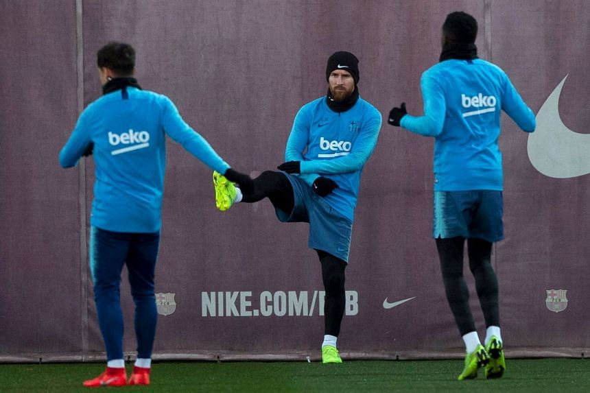 Messi (centre) attends a training session on Feb 5, 2019.