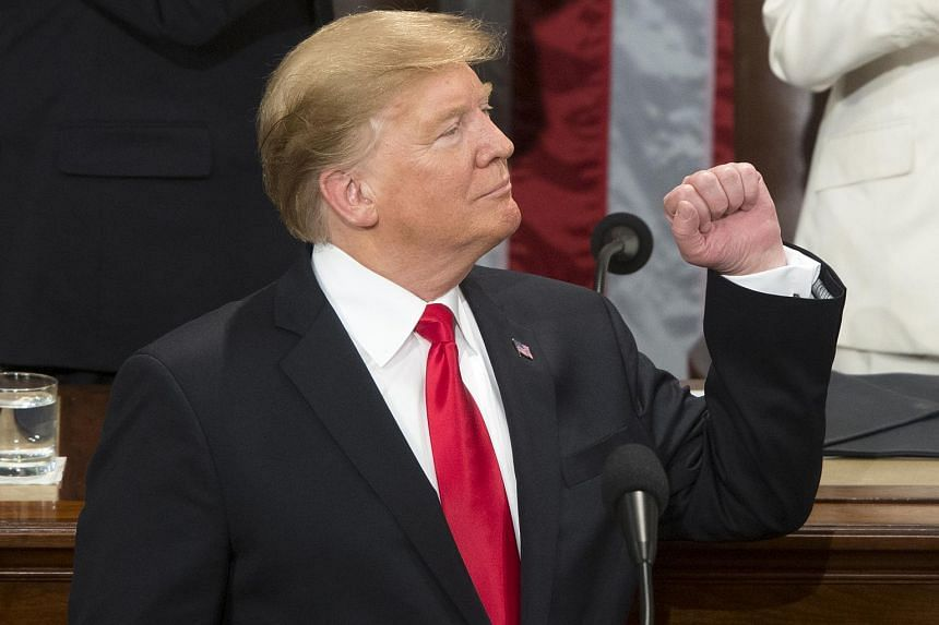 US President Donald Trump delivers his second State of the Union address from the floor of the House of Representatives on Capitol Hill in Washington, DC on Feb 5, 2019.