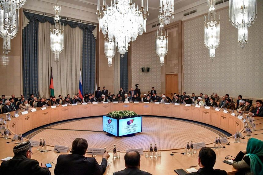 Participants at the opening of the two-day talks between the Taleban and Afghan opposition representatives at the President Hotel in Moscow on Feb 5, 2019.