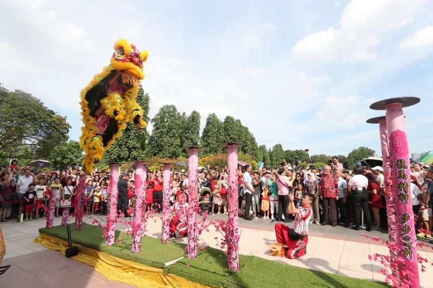 A lion dance performance during the Istana open house held in conjunction with the second day of Chinese New Year, on Feb 6, 2019.