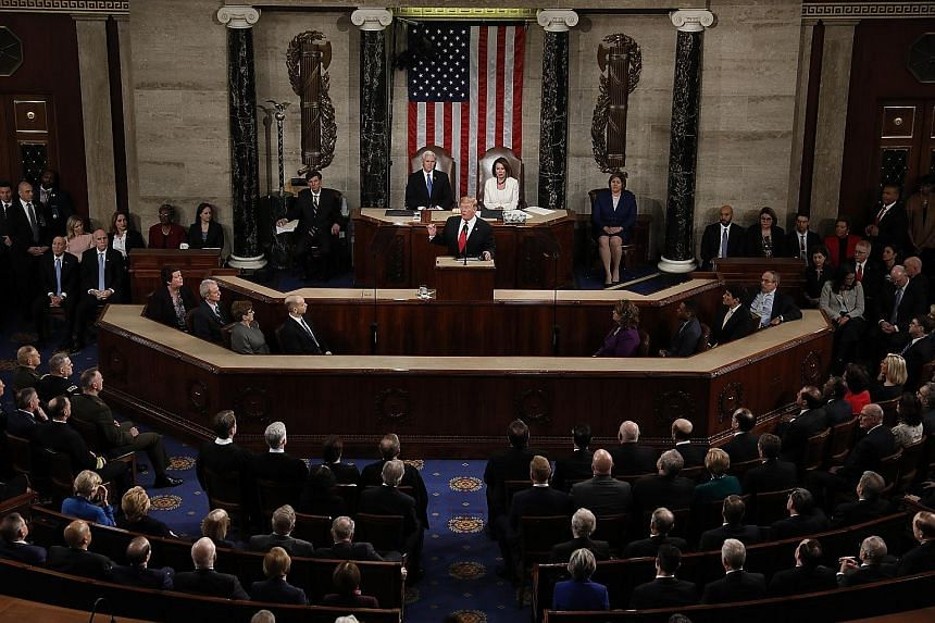 US President Donald Trump delivering his second State of the Union address to a joint session of Congress at the US Capitol in Washington on Tuesday.