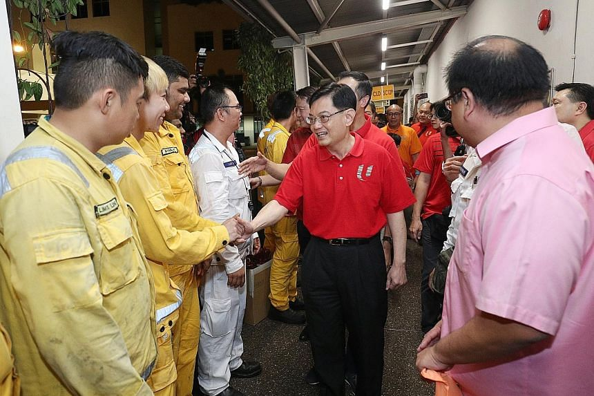 Finance Minister Heng Swee Keat visiting PSA workers on the first day of the Chinese New Year at Pasir Panjang Terminal.
