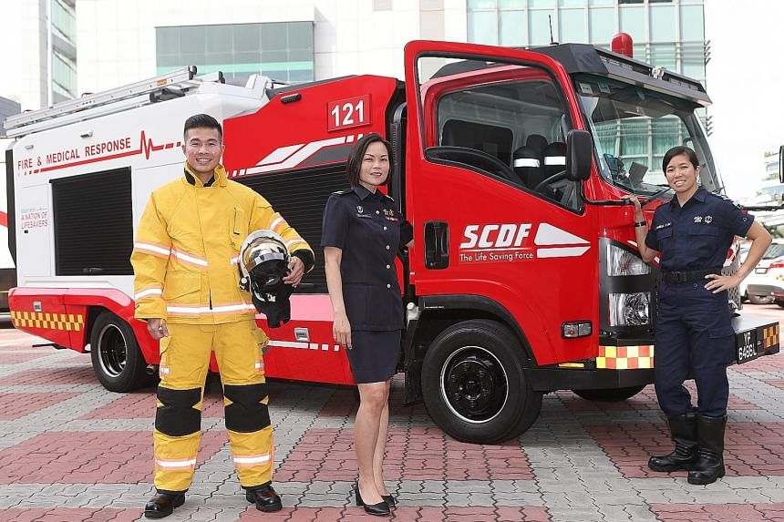 (From left) Lieutenant Yeo Ren Jie, Major Janice Oh and Captain Amelia Justina Lim are among the 10 or so officers who started out as paramedics in the Singapore Civil Defence Force and later underwent training in firefighting skills. They say having