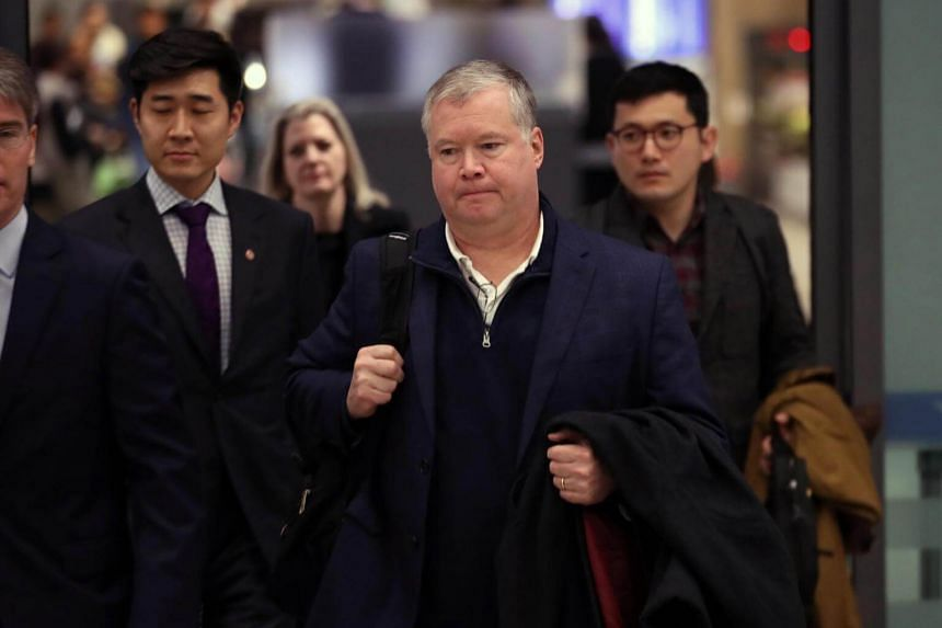 Stephen Biegun, the US envoy for North Korea, arrives at Incheon International Airport, South Korea, on Feb 3, 2019.