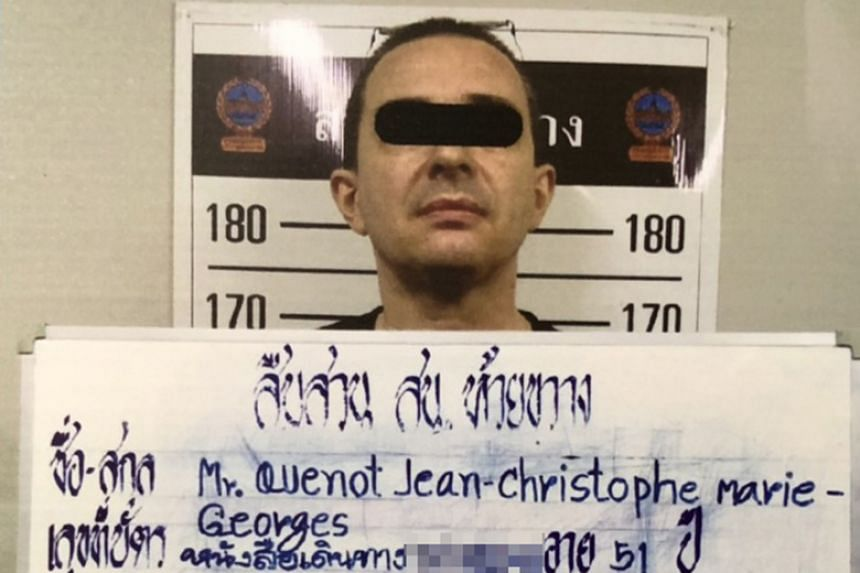 French-language teacher Jean-Christophe Quenot, 51, was arrested by police in a hotel room in Bangkok on Feb 4, 2019.