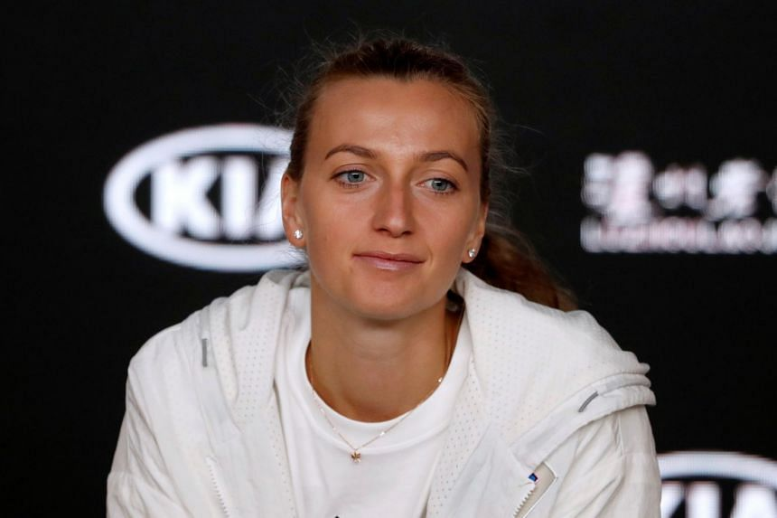 Czech Republic's Petra Kvitova attends a news conference after losing her match against Japan's Naomi Osaka, on Jan 26, 2019.