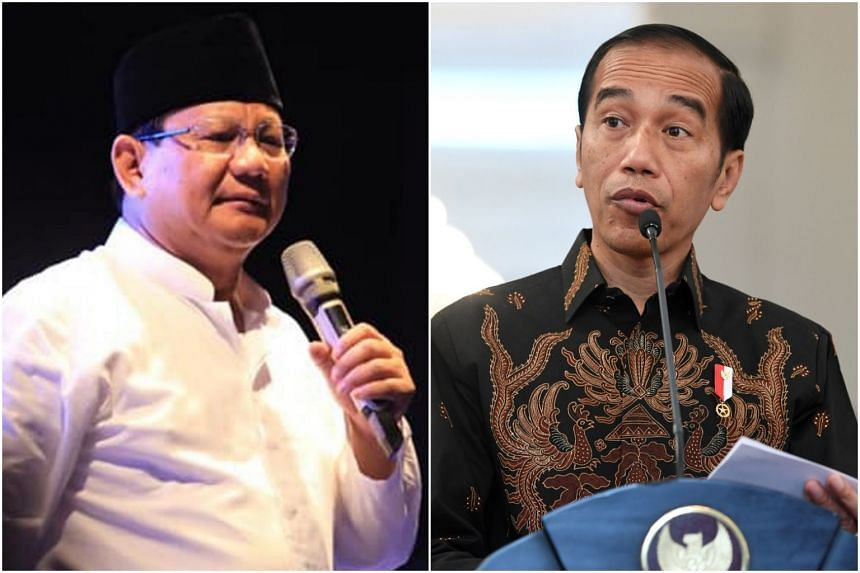 Mr Prabowo Subianto (left) is challenging President Joko Widodo in the April 17 polls. Mr Joko claims a campaign team has been disseminating messages without regard for the truth.