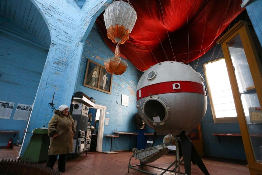 A guide waits for visitors at the space museum located in Saint Paraskeva church in Pereyaslav-Khemlnytsky, on Jan 11, 2019.
