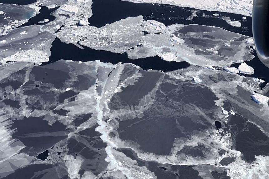 Sea ice forming in the open water between floes, called leads, are seen in the Bellingshausen Sea.
