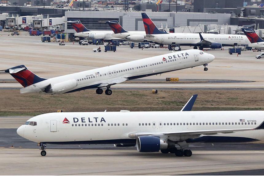 A Delta Air Lines plane taking off at Hartsfield-Jackson Atlanta International Airport in Atlanta, Georgia, on Jan 27, 2019.