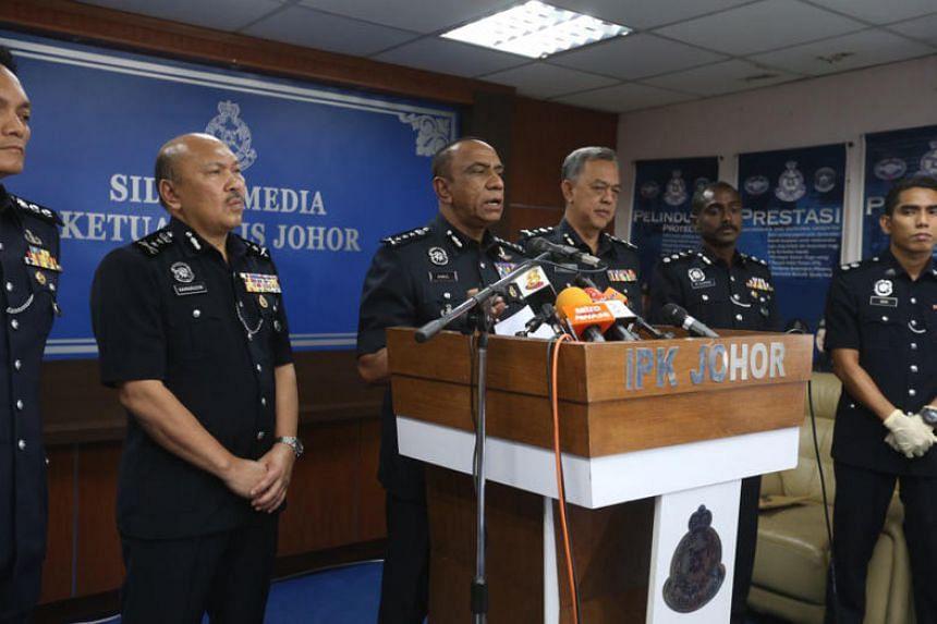 Johor Police chief Mohd Khalil Mohd Kader at a press conference on Feb 7, 2019.