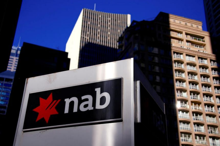 The logo of the National Australia Bank displayed outside their headquarters in central Sydney, Australia.