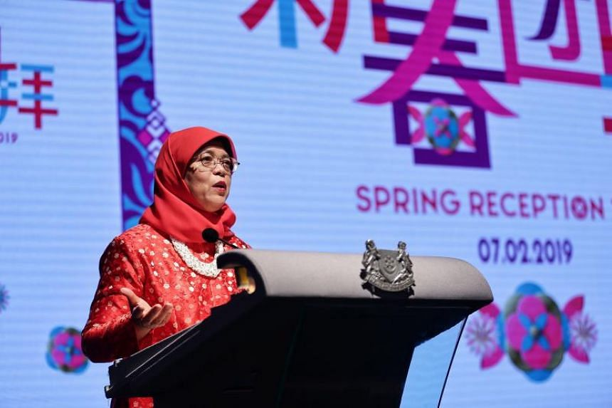 President Halimah Yacob addressing guests during Spring Reception 2019 at the Singapore Chinese Cultural Centre on Feb 7, 2019.