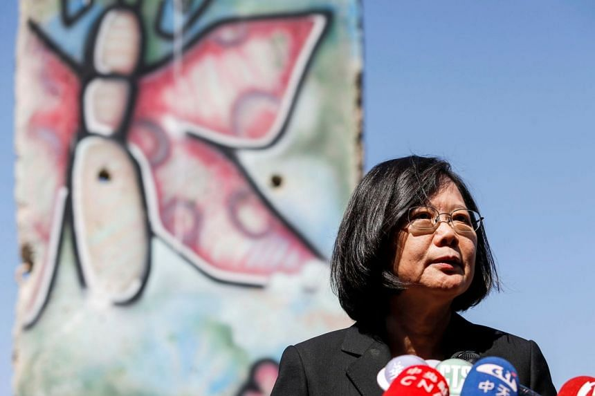 Tsai Ing-wen standing by a section of the Berlin Wall at the Ronald Reagan Presidential Library in Simi Valley, California.