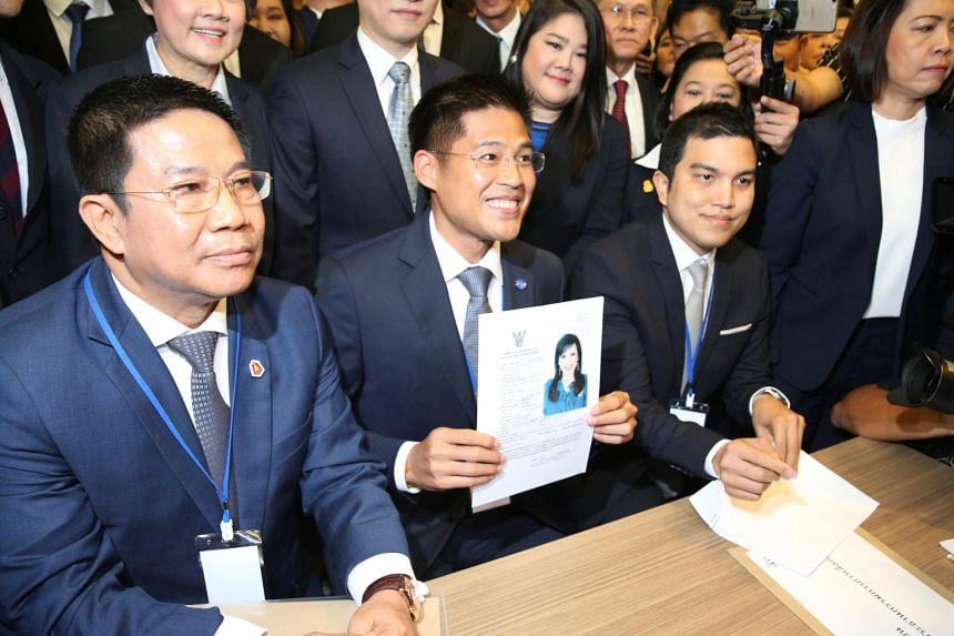 Thai Raksa Chart Party leader Preechapol Pongpanich with the application form for the party's candidate for prime minister, Ms Ubolratana Rajakanya Sirivadhana Varnavadi, at the election commission office in Bangkok on Feb 8, 2019.