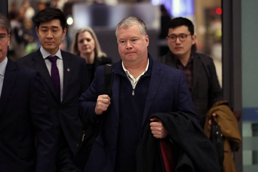 Stephen Biegun arrives at Incheon International Airport for talks on the upcoming summit.