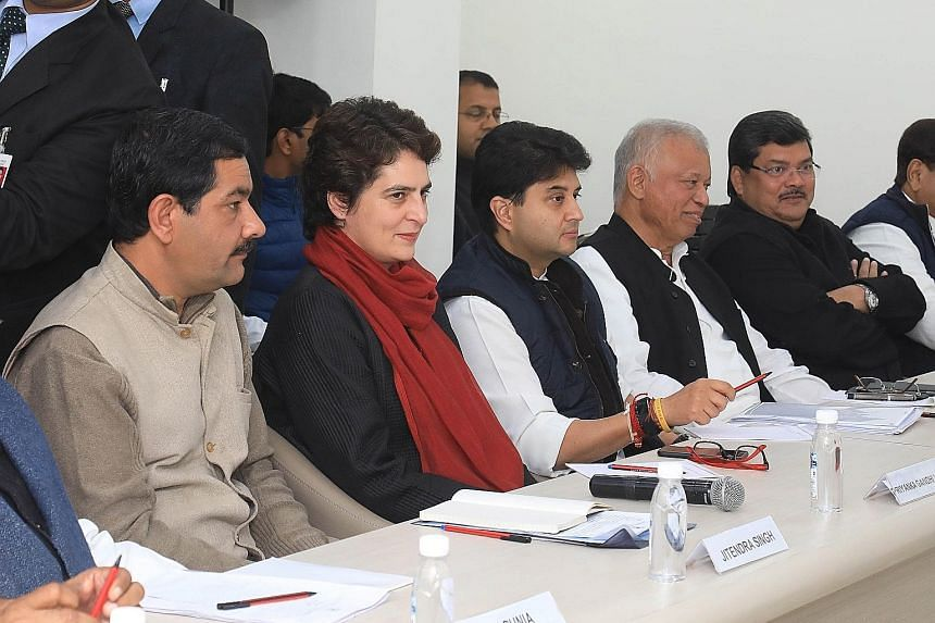 """Mrs Priyanka Gandhi Vadra at a Congress meeting in New Delhi on Thursday. Social media trolls and leaders from the ruling Bharatiya Janata Party have dismissed her as """"bipolar"""" as well as """"chocolatey""""."""