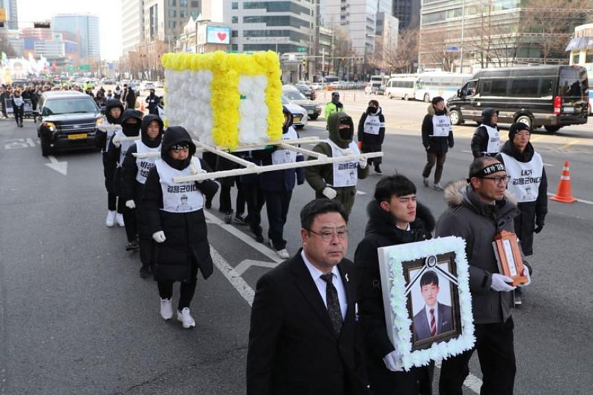 Kim Yong-kyun, 24, died after being sucked into a coal conveyor belt in January 2019.