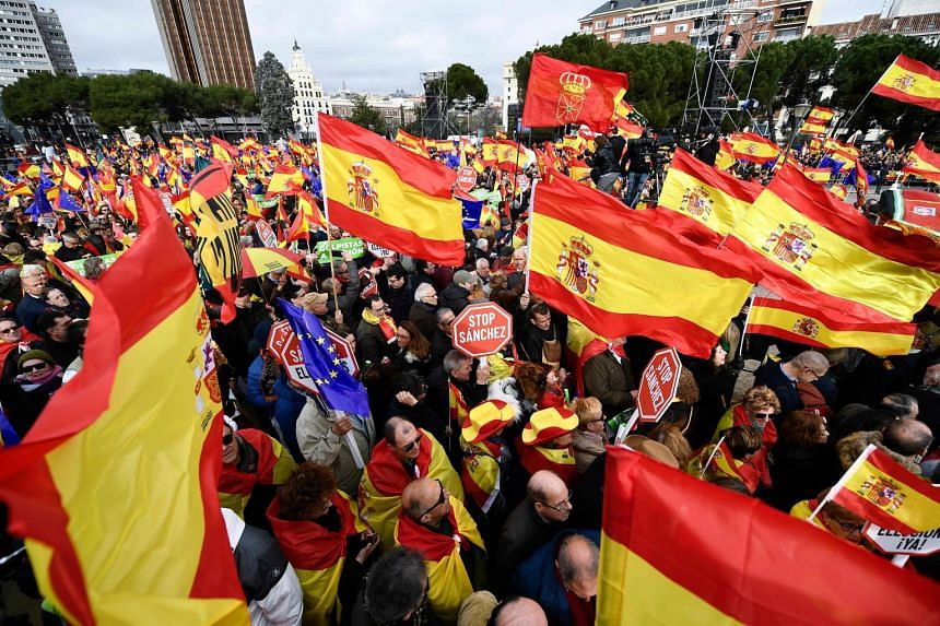 Spanish right-wing demonstrators protesting in Madrid's Plaza de Colon on Feb 10, 2019.