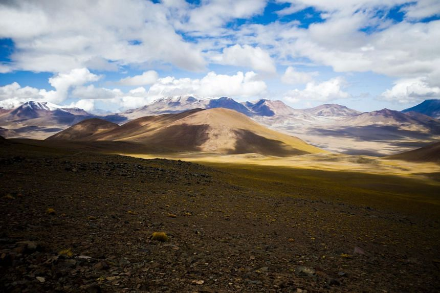 A view of the mountains of the Atacama desert, near the Silala river, at the border between Chile and Bolivia, on Jan 28, 2019.