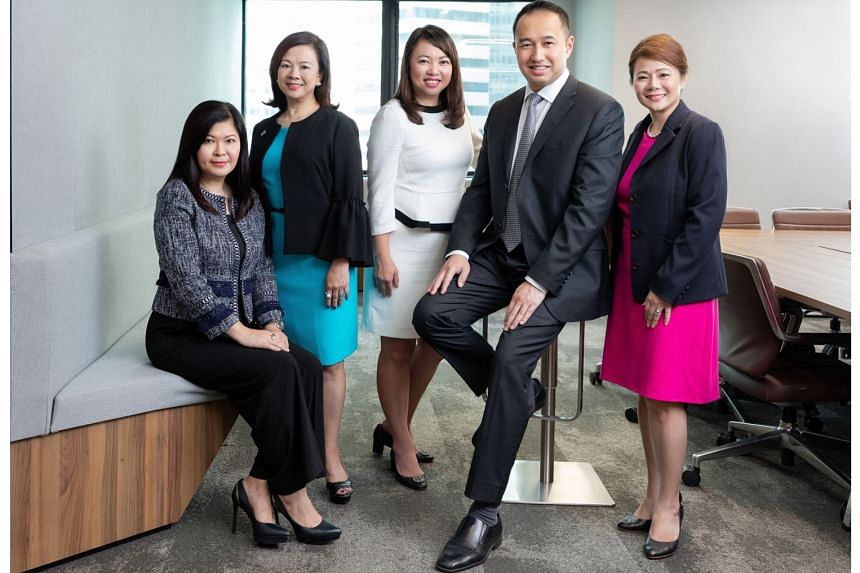 (From left) City Developments head of property development Lee Mei Ling, chief sustainability officer Esther An, group chief financial officer Yiong Yim Ming, group chief executive officer Sherman Kwek and CEO for commercial Yvonne Ong. The company has be