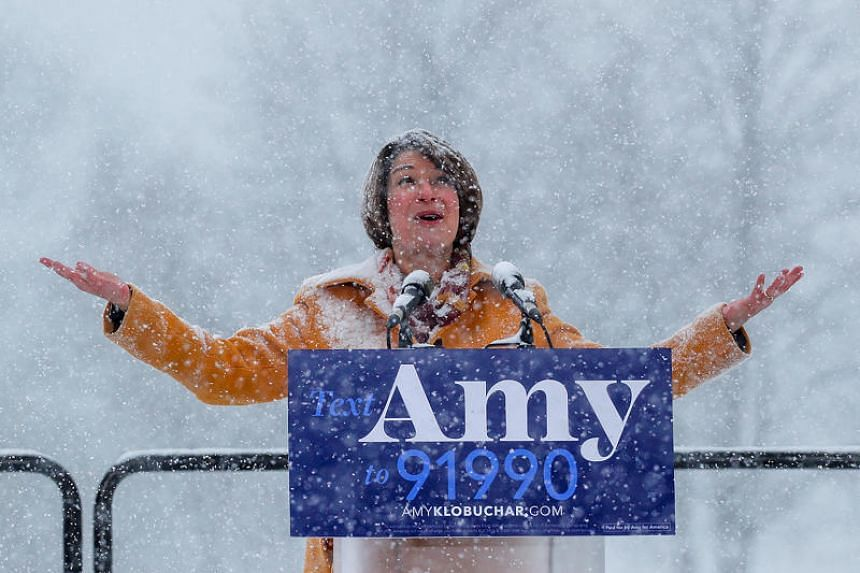 US Senator Amy Klobuchar announces her candidacy for the 2020 Democratic presidential nomination in Minneapolis, Minnesota, on Feb 10, 2019.