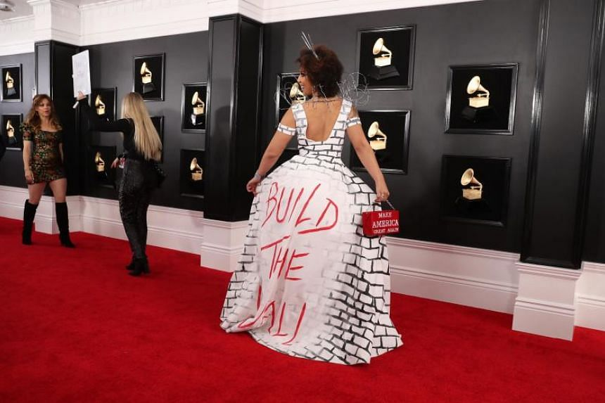 grammys 2019 joy villa dresses as trump s border wall on red carpet entertainment news top stories the straits times grammys 2019 joy villa dresses as