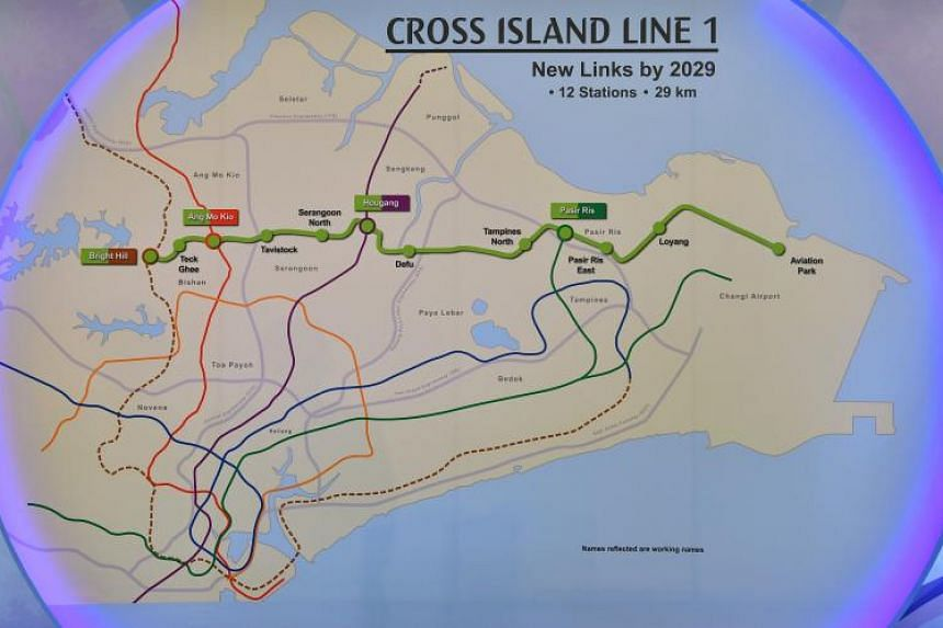 A map of the Cross Island Line, expected to be completed in 2029.