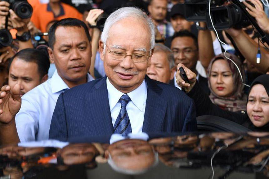 Former Malaysian prime minister Najib Razak leaves the courthouse in Kuala Lumpur on Dec 12, 2018.