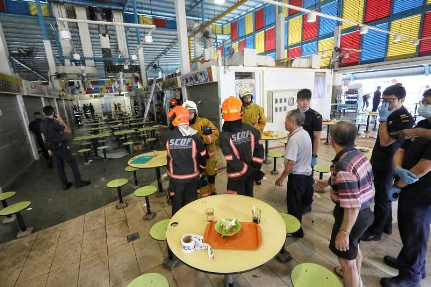 At least 12 stalls were affected by a gas supply cut following a fire at the hawker centre at 11 Telok Blangah Crescent on Monday (Feb 11). PHOTO: SHIN MIN