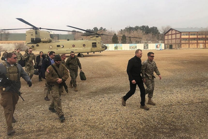 Acting US Defence Secretary Patrick Shanahan arriving in Afghanistan yesterday on an unannounced trip. He said his goal was to get an understanding of the situation on the ground from commanders.