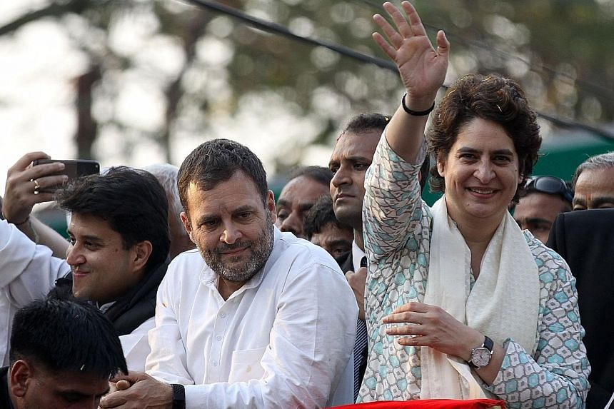India's Congress Party leader Rahul Gandhi and his sister Priyanka Gandhi Vadra in Lucknow, the capital of Uttar Pradesh, which is dominated by Prime Minister Narendra Modi's ruling BJP.