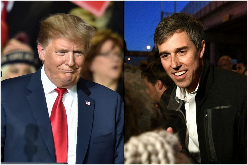 US President Donald Trump (left) and former Democratic congressman Beto O'Rourke traded political blows in rival rallies in Texas, on Feb 11, 2019.