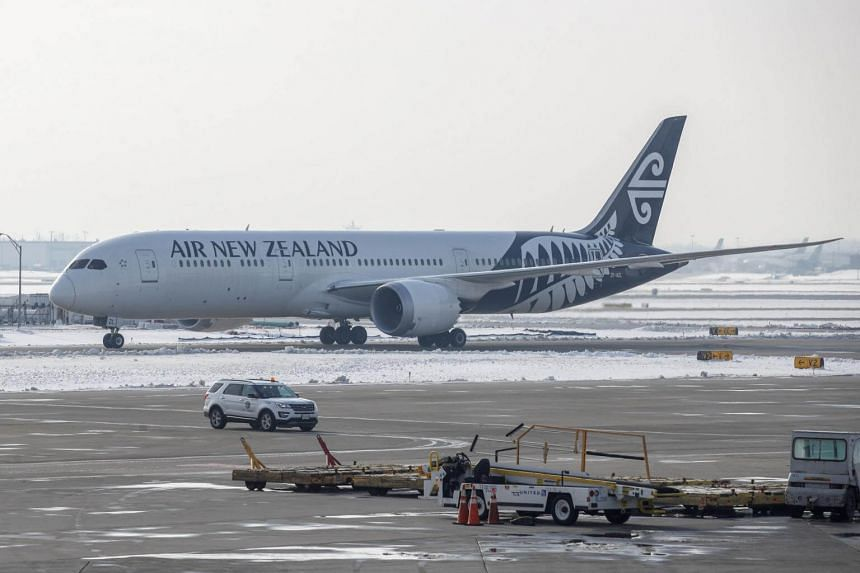 An Air New Zealand plane taxis at O'Hare International Airport in Chicago, on Nov 30, 2018.