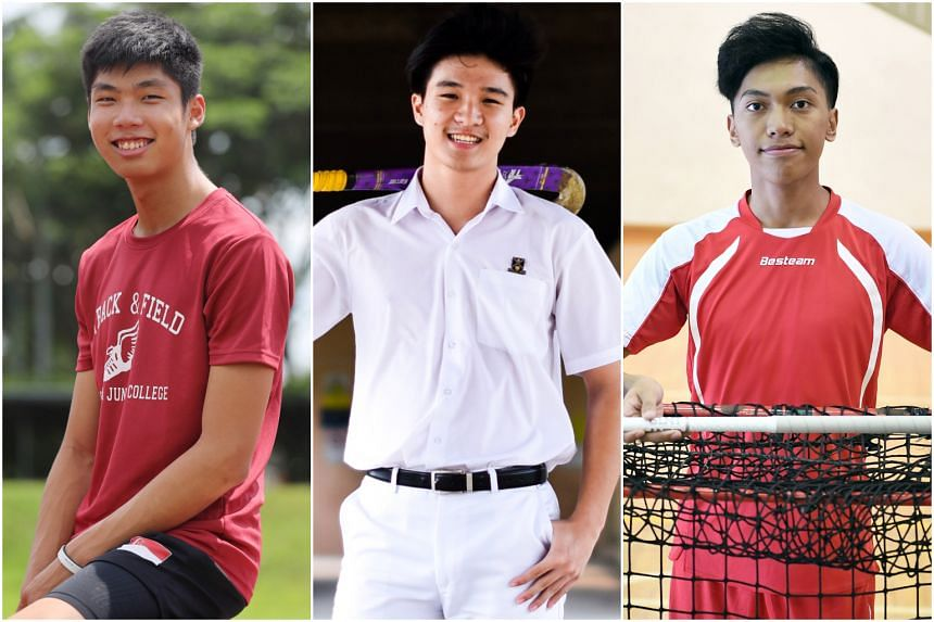 (From left) Kampton Kam, Sean See and John Alicante Embile, who have been nominated for the ST Young Athlete of the Year.