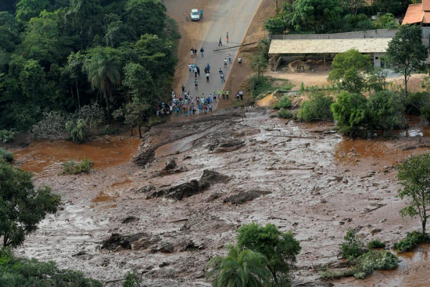 Residents in an area next to a dam that burst in Brumadinho, Brazil, on Jan 25, 2019.