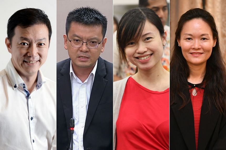 (From left) Dr Lim Wee Kiak (Sembawang GRC), Non-Constituency MP Daniel Goh, Ms Tin Pei Ling (MacPherson) and Nominated MP Irene Quay raised questions over the leak of confidential information from the HIV Registry.