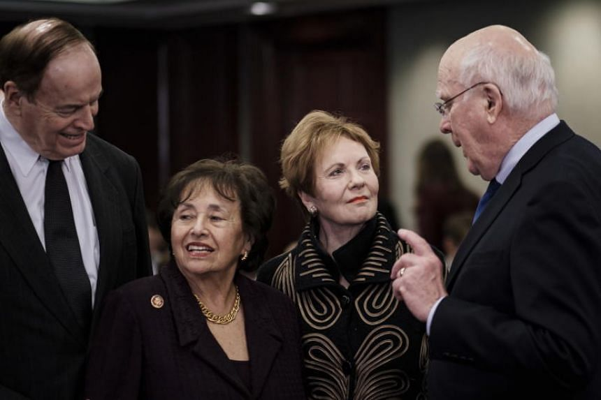 Senator Richard Shelby (R-AL), Chairwoman Nita Lowey (D-NY), Ranking Member Kay Granger (R-TX), and Senator Patrick Leahy (D-VT) confer before the start of a meeting of members of the House of Representatives and the Senate today in a Conference Comm