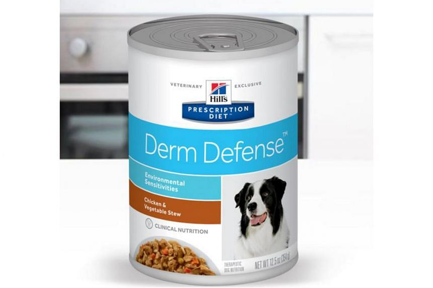 Hill's Prescription Diet Derm Defense Canine Chicken and Vegetable Stew (pictured) is one of seven Hill's Pet Nutrition products that have been recalled in Singapore.