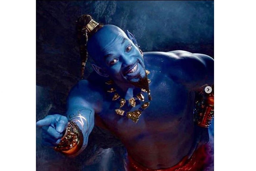 Will Smith was revealed in CGI form as a blue Genie in a trailer for the upcoming Aladdin film.