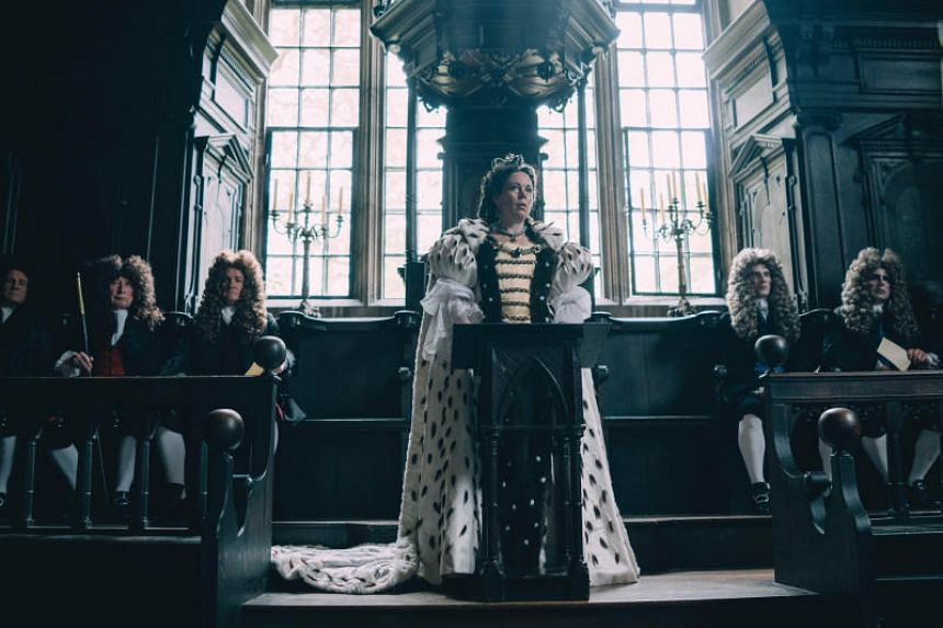Cinema still from The Favourite, starring Olivia Colman, Emma Stone and Rachel Weisz.