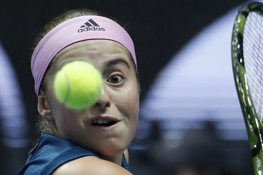 Ostapenko (above) advanced to the second round with a 6-1 4-6 6-2 victory over Mihaela Buzarnescu.