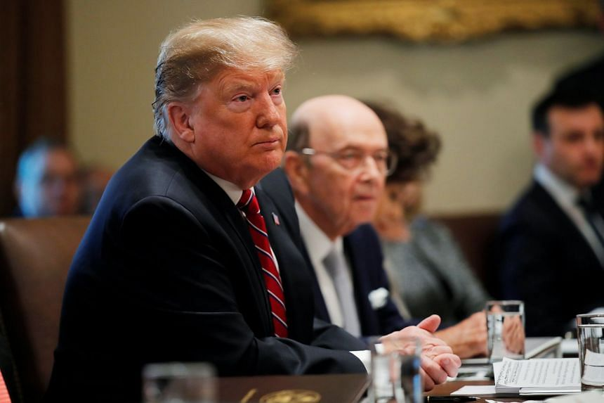Donald Trump listens next to Commerce Secretary Wilbur Ross during a Cabinet meeting at the White House.
