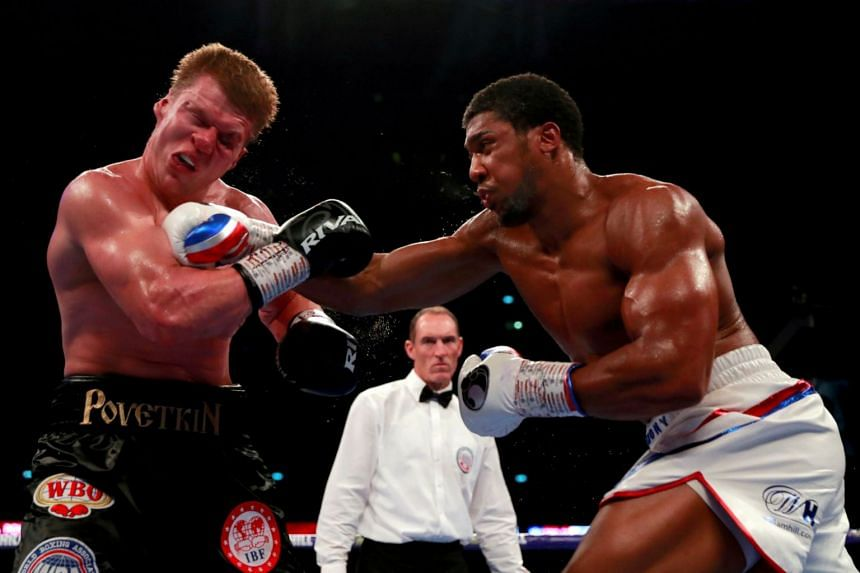 Anthony Joshua (right) in action against Alexander Povetkin in September 2018.
